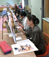 Art students in a painting class
